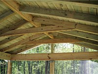 <b>For another casual or rustic look, leave the rafters revealed, and finish in pine.</b>