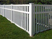 <b>Contemporary Pool Code White Vinyl Picket Fence with New England Styled Post Caps</b>