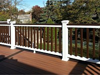 <b>Trex Composite Posts in white with cocktail rail and vintage lantern square balusters</b>