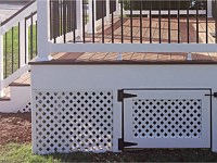 <b>Enclosing the foundation of a deck with lattice gives a finished appearance that enhances the look of your home. By making one or more of the lattice panels a gate, the space under the deck can also be used for closed storage</b>