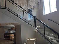 <b>Interior Stair and Balcony Glass Panel Aluminum Railing at the Fairfield in Ocean City, MD</b>
