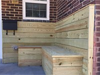 <b>Pressure Treated Wood Decking on the Walls of the front of the homes at Lyons Estate in Baltimore MD</b>