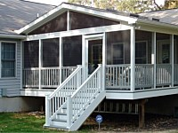 <b>Screened Porch with a gable style roof, complete with composite deck boards and white aluminum railing.  The screening system includes Screeneze and Super Screen Mesh.</b>