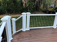 <b>TimberTech Pro Legacy Collection Sapele Decking with Mocha Feature Board and White TimberTech Permier Handrail</b>