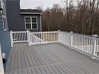 <b>TimberTech Reserve Storm Gray Decking with White Lincoln Vinyl Railing with a matching Storm Gray Cocktail Rail in Severn MD</b>