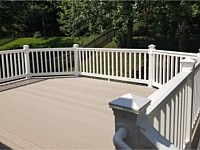 <b>TimberTech Terrain Sandy Birch Deck Boards with White Vinyl Railing and Post Cap Lights in Columbia MD</b>