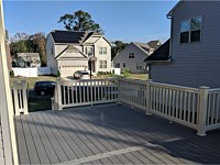 <b>TimberTech Terrain Silver Maple Deck Boards with Tan Vinyl Washington Railing in Severn MD</b>