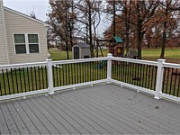 <b>TimberTech Terrain Silver Maple Deck Boards with White Washington Vinyl Railing with Black Round Aluminum Balusters in Baltimore MD 2</b>