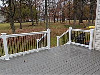 <b>TimberTech Terrain Silver Maple Deck Boards with White Washington Vinyl Railing with Black Round Aluminum Balusters in Baltimore MD 1</b>