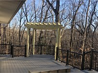 <b>TimberTech Terrain Silver Maple Decking with Ultralox Black Aluminum Railing-Pressure Treated Pergola for Swing</b>