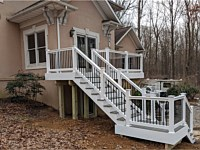<b>TimberTech Terrain Silver Maple with White Washington Vinyl Railing with Black Aluminum Balusters</b>