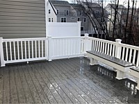 <b>TimberTech Terrain Silver Maple with White Washington Vinyl Railing with matching benches in Gambrills MD</b>