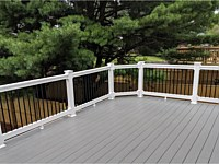 <b>TimberTech Terrain Stone Ash Deck Boards with White Washington Vinyl Railing and Black Aluminum Balusters in Abingdon MD</b>