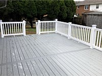 <b>TimberTech Terrain Stone Ash Deck Boards with White Washington Vinyl Railing and Post Cap Lights in Upper Marlboro MD</b>