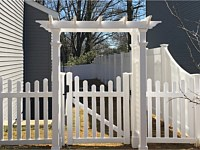 <b>White Vinyl Picket Fence with dip and Arbor walk Gate-6 foot high Privacy Fence with Transition section between Fence heights</b>